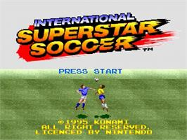 Title screen of International Superstar Soccer on the Nintendo SNES.