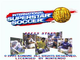 Title screen of International Superstar Soccer Deluxe on the Nintendo SNES.