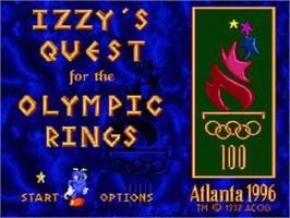 Title screen of Izzy's Quest for the Olympic Rings on the Nintendo SNES.