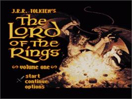 Title screen of J.R.R Tolkien's Lord of the Rings: Volume One on the Nintendo SNES.