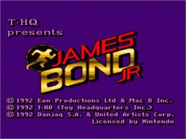 Title screen of James Bond Jr. on the Nintendo SNES.