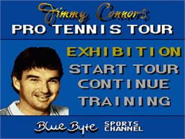 Title screen of Jimmy Connors Pro Tennis Tour on the Nintendo SNES.