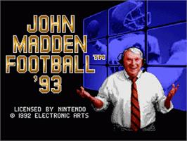 Title screen of John Madden Football '93 on the Nintendo SNES.