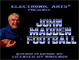 Title screen of John Madden Football on the Nintendo SNES.