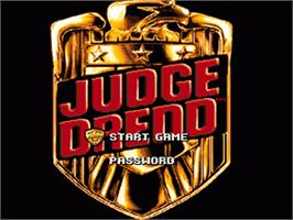 Title screen of Judge Dredd on the Nintendo SNES.