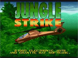 Title screen of Jungle Strike on the Nintendo SNES.