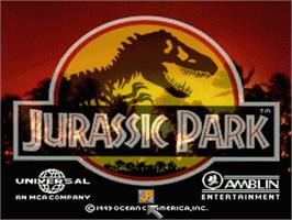 Title screen of Jurassic Park on the Nintendo SNES.