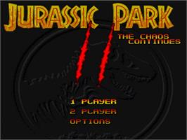 Title screen of Jurassic Park Part 2: The Chaos Continues on the Nintendo SNES.