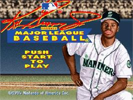 Title screen of Ken Griffey Jr Presents Major League Baseball on the Nintendo SNES.