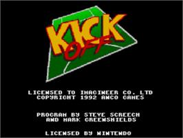 Title screen of Kick Off on the Nintendo SNES.