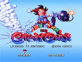 Title screen of Kid Klown in Crazy Chase on the Nintendo SNES.