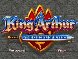 Title screen of King Arthur & the Knights of Justice on the Nintendo SNES.