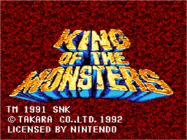 Title screen of King of the Monsters on the Nintendo SNES.