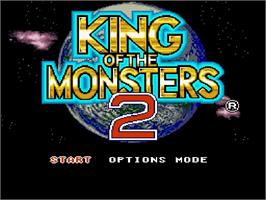 Title screen of King of the Monsters 2: The Next Thing on the Nintendo SNES.