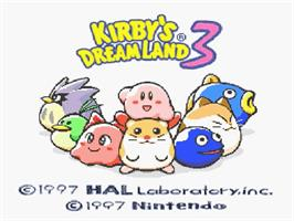 Title screen of Kirby's DreamLand 3 on the Nintendo SNES.