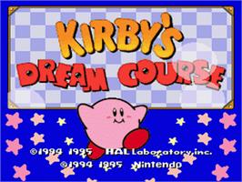 Title screen of Kirby's Dream Course on the Nintendo SNES.