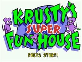 Title screen of Krusty's Fun House on the Nintendo SNES.