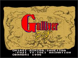 Title screen of Kuusou Kagaku Sekai Gulliver Boy on the Nintendo SNES.
