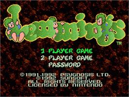 Title screen of Lemmings on the Nintendo SNES.