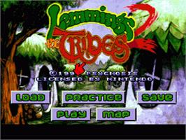 Title screen of Lemmings 2: The Tribes on the Nintendo SNES.