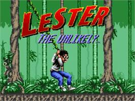 Title screen of Lester the Unlikely on the Nintendo SNES.