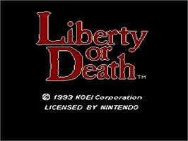 Title screen of Liberty or Death on the Nintendo SNES.