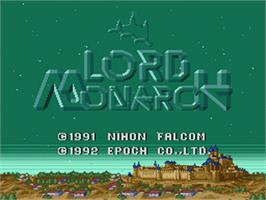 Title screen of Lord Monarch on the Nintendo SNES.