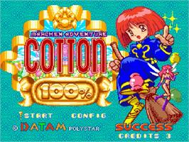 Title screen of Märchen Adventure Cotton 100% on the Nintendo SNES.