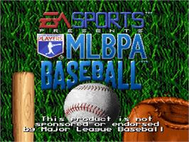 Title screen of MLBPA Baseball on the Nintendo SNES.
