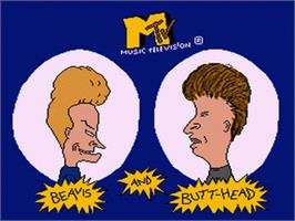 Title screen of MTV's Beavis and Butt-Head on the Nintendo SNES.