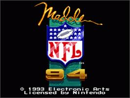 Title screen of Madden NFL '94 on the Nintendo SNES.