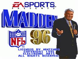 Title screen of Madden NFL '96 on the Nintendo SNES.