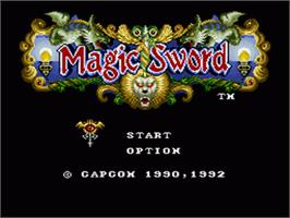 Title screen of Magic Sword on the Nintendo SNES.