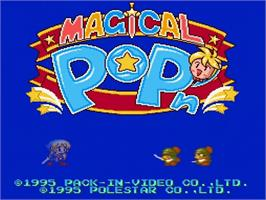 Title screen of Magical Pop'n on the Nintendo SNES.