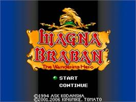 Title screen of Magna Braban: Henreki no Yusha on the Nintendo SNES.