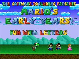 Title screen of Mario's Early Years: Fun With Letters on the Nintendo SNES.