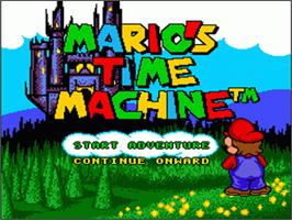 Title screen of Mario's Time Machine on the Nintendo SNES.