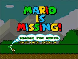 Title screen of Mario is Missing! on the Nintendo SNES.