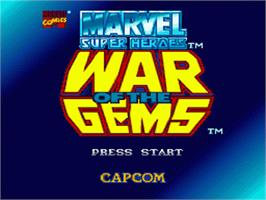 Title screen of Marvel Super Heroes in War of the Gems on the Nintendo SNES.