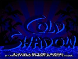 Title screen of Maui Mallard in Cold Shadow on the Nintendo SNES.
