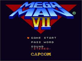 Title screen of Mega Man 7 on the Nintendo SNES.