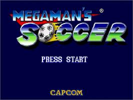 Title screen of Mega Man Soccer on the Nintendo SNES.