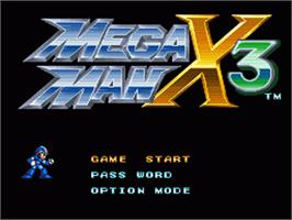 Title screen of Mega Man X3 on the Nintendo SNES.