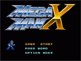 Title screen of Mega Man X on the Nintendo SNES.