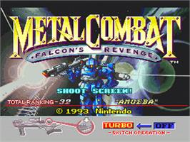 Title screen of Metal Combat: Falcon's Revenge on the Nintendo SNES.