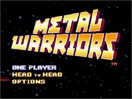 Title screen of Metal Warriors on the Nintendo SNES.