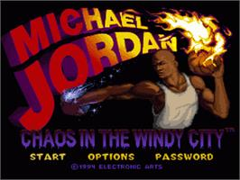 Title screen of Michael Jordan:  Chaos in the Windy City on the Nintendo SNES.