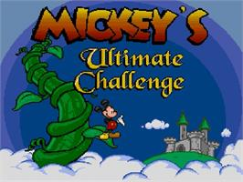 Title screen of Mickey's Ultimate Challenge on the Nintendo SNES.