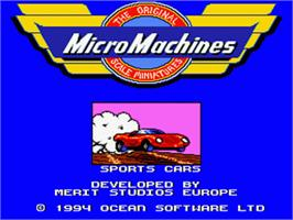 Title screen of Micro Machines on the Nintendo SNES.