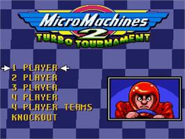 Title screen of Micro Machines 2: Turbo Tournament on the Nintendo SNES.